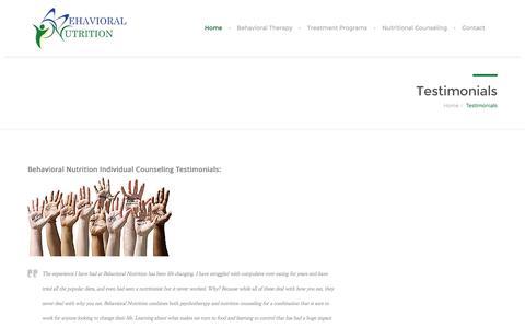 Screenshot of Testimonials Page behavioralnutrition.org - Testimonials - Behavioral Nutrition - captured Feb. 6, 2016