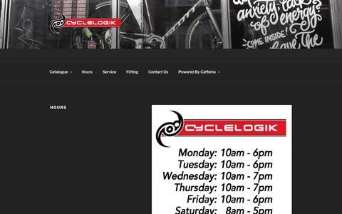 Screenshot of Hours Page cyclelogik.com - Hours – Cyclelogik - captured May 24, 2017
