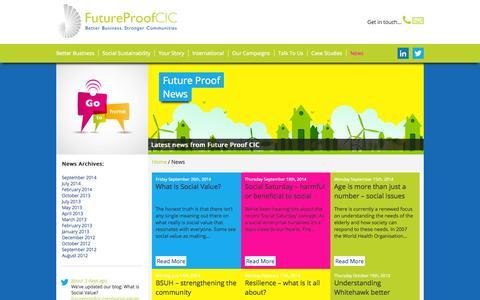 Screenshot of Press Page futureproofcic.com - News - Future Proof CIC - captured Sept. 30, 2014