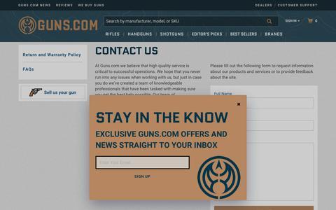 Screenshot of Contact Page guns.com - Guns :: Contact Us - captured Nov. 7, 2018