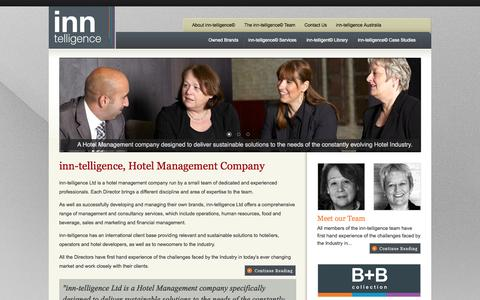 Screenshot of Home Page inn-telligence.com - inn-telligence | Hotel Management Company | range of management and consultancy services for Hotels B+Bs and Leisure industry - captured Oct. 6, 2014