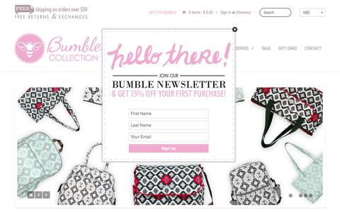 Screenshot of Home Page bumblecollection.com - Diaper Bags, Baby Bags, Lunch Bags | Bumble Collection - captured Feb. 19, 2016