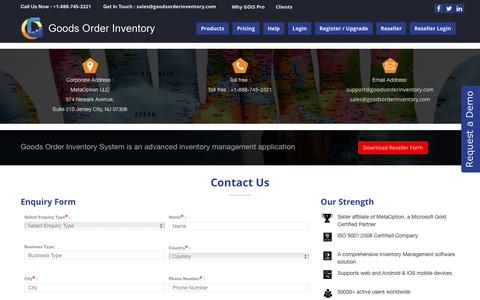 Screenshot of Contact Page goodsorderinventory.com - GOIS Inventory Management Software | Inventory Management apps - Contact Us - captured Feb. 10, 2016