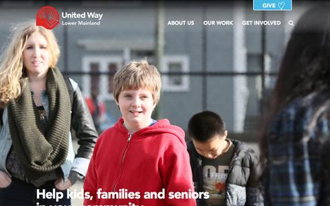 Screenshot of Home Page uwlm.ca - United Way of the Lower Mainland - captured Feb. 17, 2016