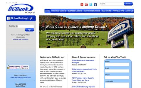 Screenshot of About Page Hours Page bcbankinc.com - Home - BCBank, Inc. - captured Oct. 23, 2014