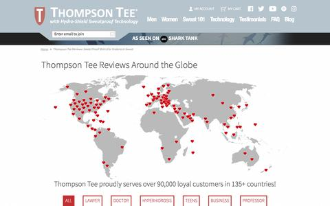 Screenshot of Testimonials Page thompsontee.com - Thompson Tee Reviews: Sweat Proof Shirts for Underarm Sweat - captured May 25, 2017