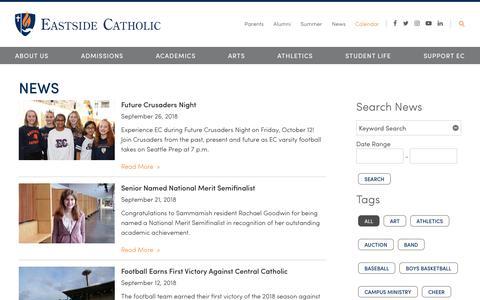 Screenshot of Press Page eastsidecatholic.org - News - Eastside Catholic School - captured Sept. 26, 2018
