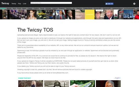 Screenshot of Terms Page twicsy.com - Twicsy Terms of Service  | Twicsy - Twitter Picture Discovery - captured July 13, 2018