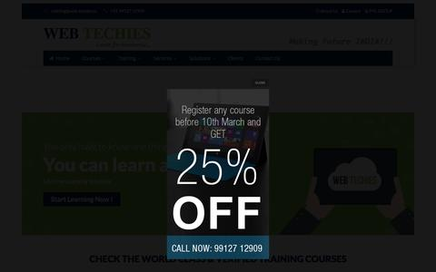 Screenshot of Home Page web-techies.in - WEB TECHIES | BEST HTML5 Training Institute, CSS3 Training Institute, AngularJS Training Institute, User Interface Development Training Institute, User Interface Development Training Institute Hyderabad, Vizag, Guntur, Vijayawada, Amaravati, Andhra P - captured March 8, 2016
