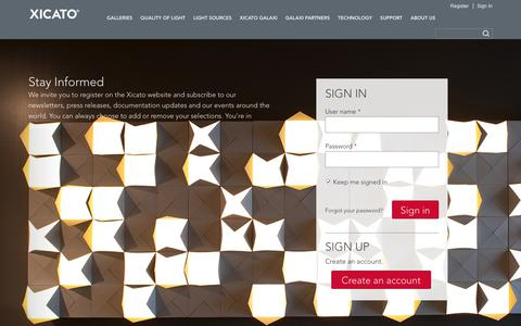 Screenshot of Login Page xicato.com - Sign In | Xicato - captured Sept. 20, 2018