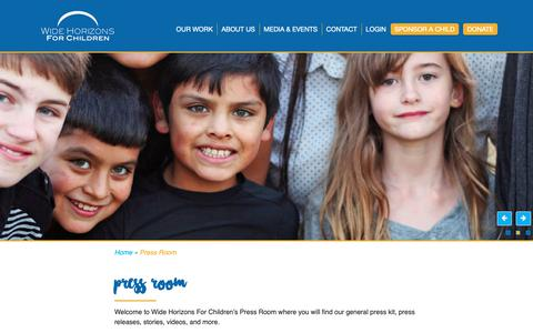 Screenshot of Press Page whfc.org - Press Room - Wide Horizons for Children - captured Oct. 19, 2018