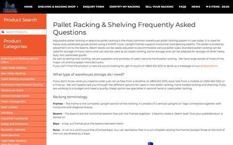Screenshot of FAQ Page shelving-racking-limited.co.uk - Pallet Racking, Warehouse Shelving, FAQs - captured June 11, 2019