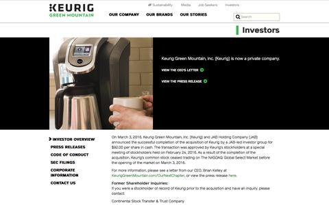 Investors - Keurig Green Mountain, Inc.