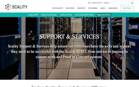 Screenshot of Support Page scality.com - Support & Services - Scality - captured April 4, 2017
