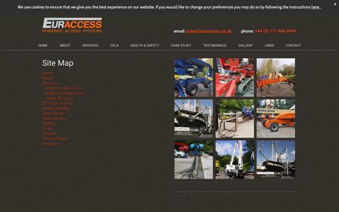 Screenshot of Site Map Page euraccess.co.uk - Euraccess website sitemap | powered access equipment repairs - captured July 21, 2018