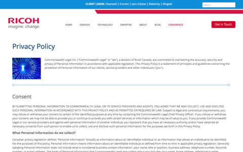 Screenshot of Privacy Page commonwealthlegal.com - Privacy Policy | Commonwealth Legal - captured July 20, 2018