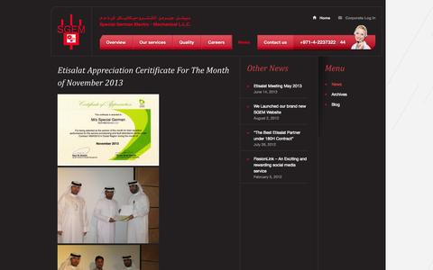 Screenshot of Press Page sgem.ae - News    Special German Electro – Mechanical L.L.C - captured Oct. 6, 2014