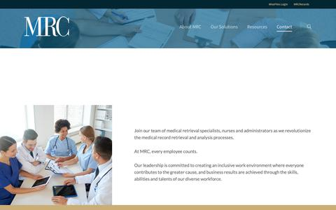 Screenshot of Jobs Page mrchouston.com - Careers at MRC Houston | Retrieval Specialists, Nurse Consultants, and More - captured Oct. 17, 2018