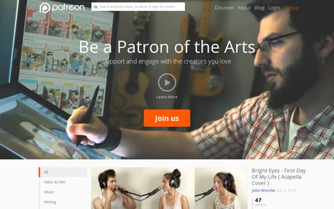 Screenshot of Home Page patreon.com - Patreon: Support the creators you love - captured July 10, 2014