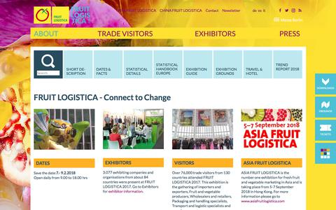 Screenshot of About Page fruitlogistica.com - FRUIT LOGISTICA - About - captured Feb. 12, 2018