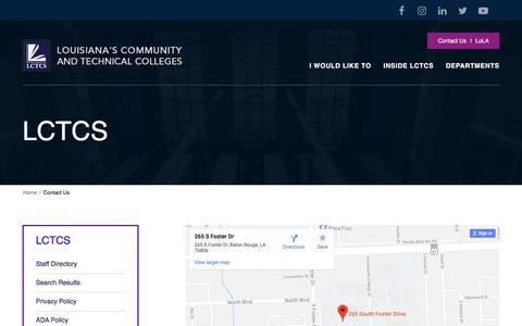 Screenshot of Contact Page lctcs.edu - Contact Us | LCTCS - captured July 14, 2018