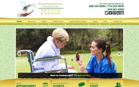 Screenshot of Home Page phcsicare.com - Professional Health Care Consultants, Inc. - Non-Medical Home Care - California - captured Feb. 1, 2016