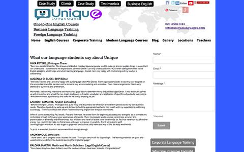 Screenshot of Testimonials Page uniquelanguages.com - What our language students say about our language training courses - captured Oct. 27, 2014