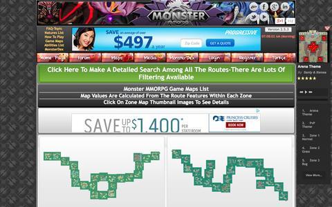 Screenshot of Maps & Directions Page monstermmorpg.com - MonsterMMORPG Game Zones - 18 Types Like Pokemon, Over 500 Maps, 19 Regions - captured Sept. 19, 2014