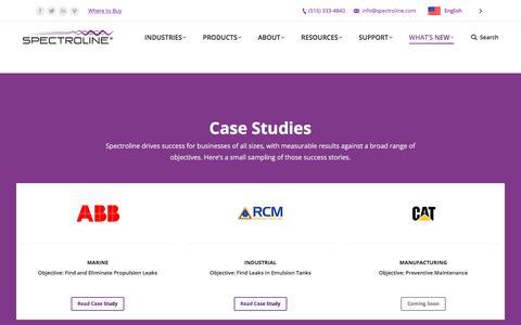 Screenshot of Case Studies Page spectroline.com - Case Studies - Spectroline - captured Oct. 23, 2017