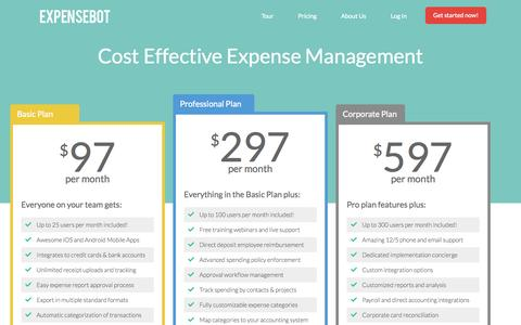 Screenshot of Pricing Page expensebot.com - Cost effective expense management with ExpenseBot - captured Sept. 16, 2014