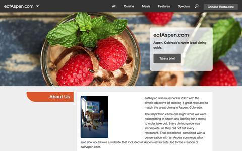 Screenshot of About Page eataspen.com - About Us | eatAspen - captured Sept. 27, 2018