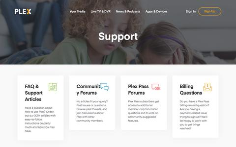 Screenshot of Support Page plex.tv - Plex Support   Plex Media Server Support - captured June 1, 2018