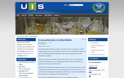 Screenshot of Press Page uis-as.co.za - UIS Analytical Services - News Articles - captured Oct. 3, 2014