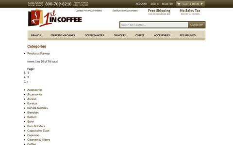 Screenshot of Site Map Page 1stincoffee.com - Site Map - captured Oct. 27, 2014