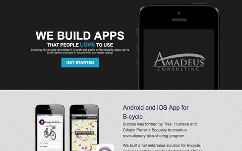 Screenshot of Landing Page amadeusconsulting.com - Boulder Mobile App Development and Technology Solutions - captured Oct. 27, 2014