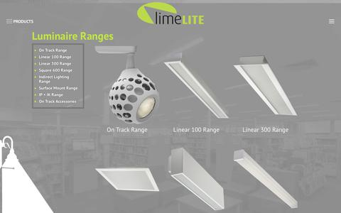 Screenshot of Products Page limelitesales.com.au - LimeLite Luminaire Ranges for all your lighting needs - LimeLite - captured Jan. 29, 2018