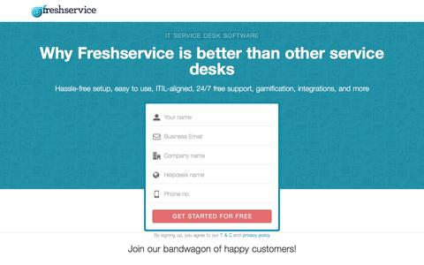 Screenshot of Landing Page freshservice.com - Freshservice IT Service Desk vs. Others - captured Oct. 30, 2016