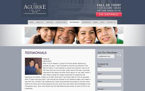 Screenshot of Testimonials Page getjustice.us - The Aguirre Law Firm  » Testimonials - captured Oct. 1, 2014