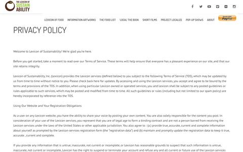 Screenshot of Privacy Page lexiconofsustainability.com - Lexicon of SustainabilityPrivacy Policy - Lexicon of Sustainability - captured Oct. 18, 2016