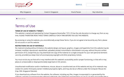 Screenshot of Terms Page contactsingapore.sg - Terms of Use - Contact Singapore - captured May 21, 2017