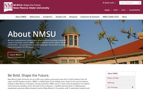Screenshot of About Page nmsu.edu - About NMSU | New Mexico State University - BE BOLD. Shape the Future. - captured Aug. 24, 2019
