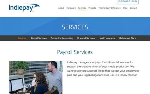 Screenshot of Services Page indiepayroll.com - Services | Production Payroll & Financial Services, Indiepay - captured Oct. 6, 2014