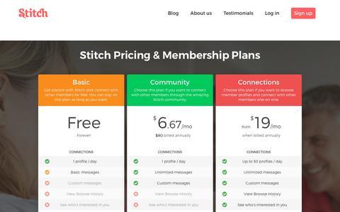 Screenshot of Pricing Page stitch.net - Stitch Pricing - captured Feb. 25, 2018