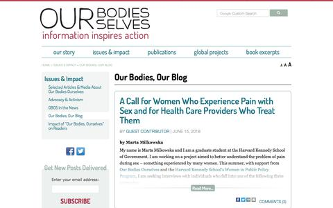 Screenshot of Blog ourbodiesourselves.org - Our Bodies, Our Blog - Our Bodies Ourselves - captured Sept. 21, 2018