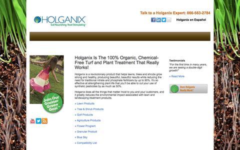 Screenshot of Products Page holganix.com - Holganix is an organic, chemical-free lawn treatment that works - captured Feb. 18, 2018
