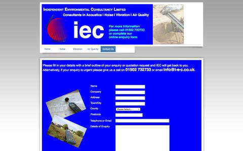 Screenshot of Contact Page i-e-c.co.uk - Contact Us | Independent Environmental Consultancy Limited | Approved Noise,Vibration & Air Quality Consultants | Call 01502 732733 - captured Oct. 6, 2014