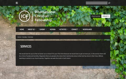 Screenshot of Services Page icfrotterdam.nl - Services - International Christian Fellowship - captured Feb. 11, 2016