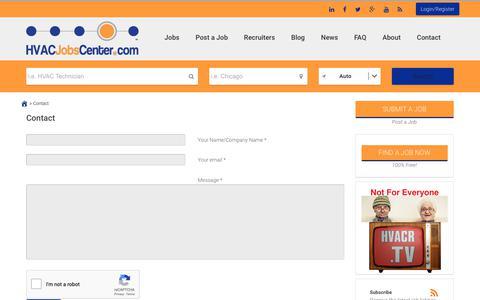 Screenshot of Contact Page hvacjobscenter.com - Contact - HVAC Jobs Center - captured Nov. 4, 2018