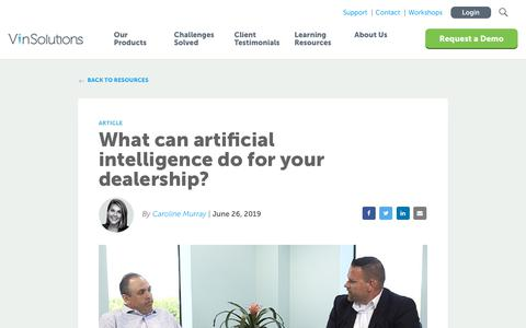 Screenshot of Blog vinsolutions.com - VinSolutions - What can AI do for your dealership? - captured Dec. 3, 2019