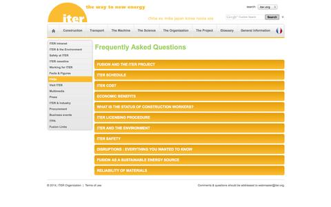 Screenshot of FAQ Page iter.org - ITER - the way to new energy - captured Sept. 24, 2014